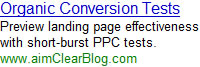 Preview Organic Landing Page Conversion with PPC Tests.