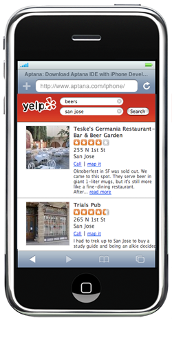 yelp iphone interface
