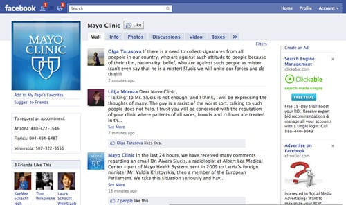 Mayo Clinic & What Happens When a Facebook Wall Goes Terribly Wrong