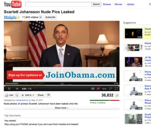 Obama's YouTube Ads… On Scarlett Johansson Nude Pictures?