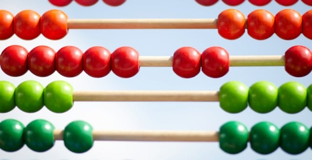 Wodden abacus in front of blue sky