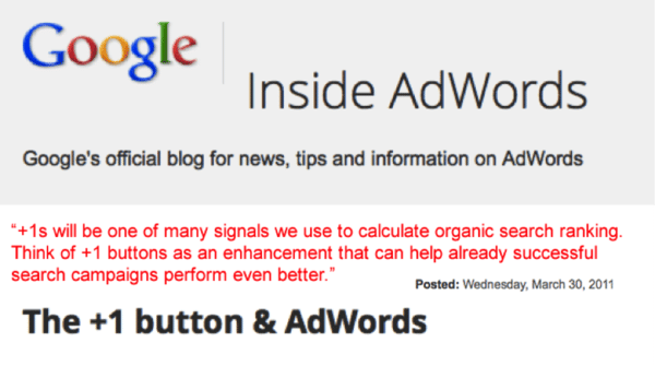 AdWords Plus 1 Button