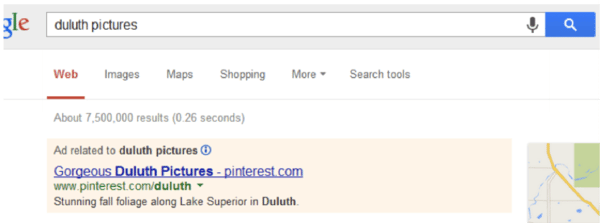Duluth Pictures Google SERP