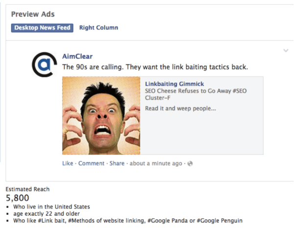 FB Desktop News Feed Ad Preview