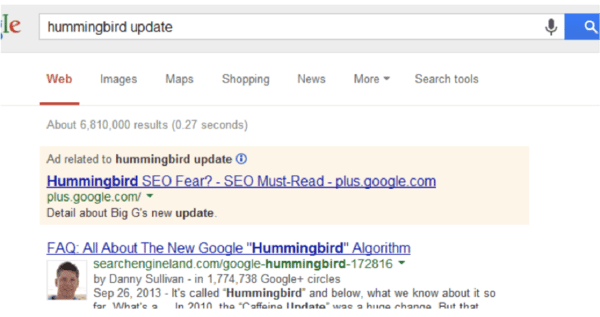 Hummingbird Update Google SERP