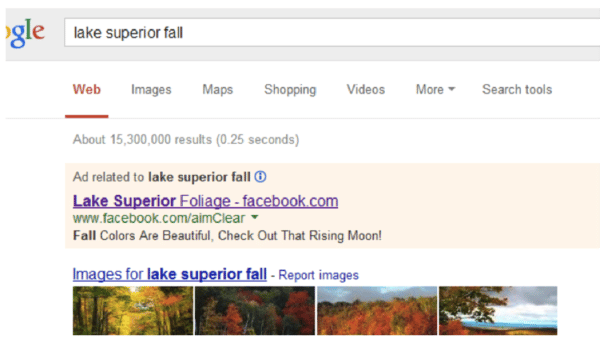 Lake Superior Fall Google SERP