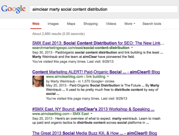 aimClear Marty Social Content SERP
