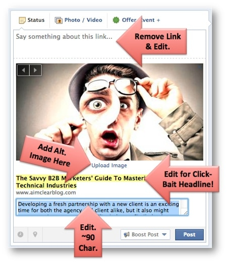 Editable elements of Facebook Page Link Posts