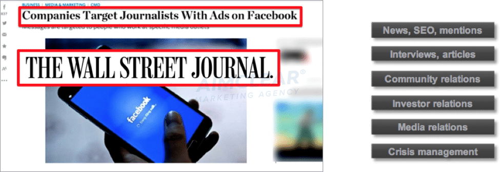 Screencap of Wall Street Journal story about Companies Targeting Journalists with Ads on Facebook.