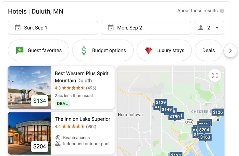 Google SERP of hotels in Duluth
