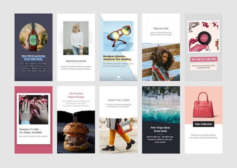 Examples of Facebook/Instagram Story Ad templates