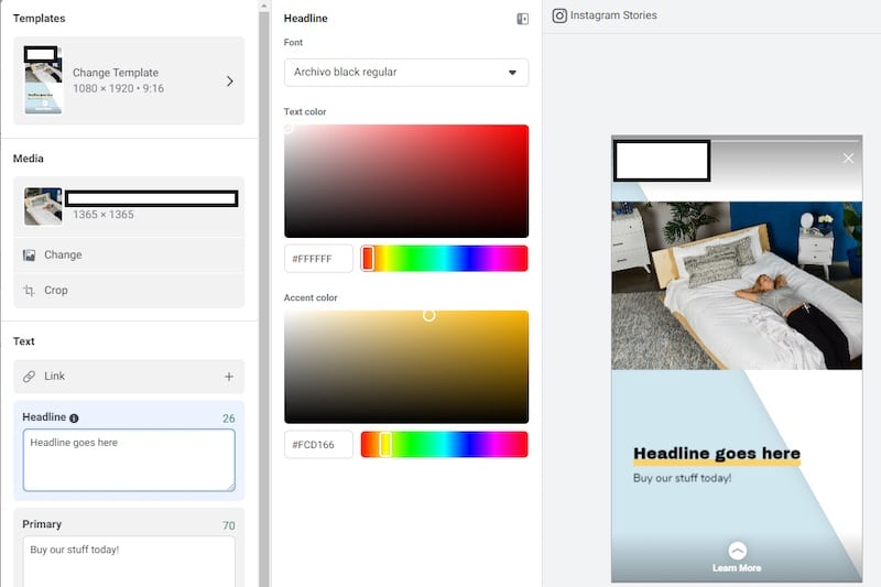 Screen capture of Story Ads template interface