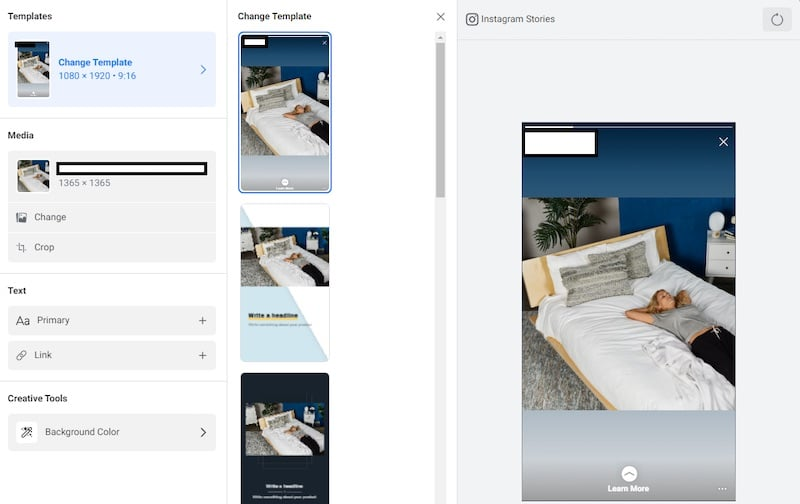 Screen capture of Facebook/Instagram story ads template options