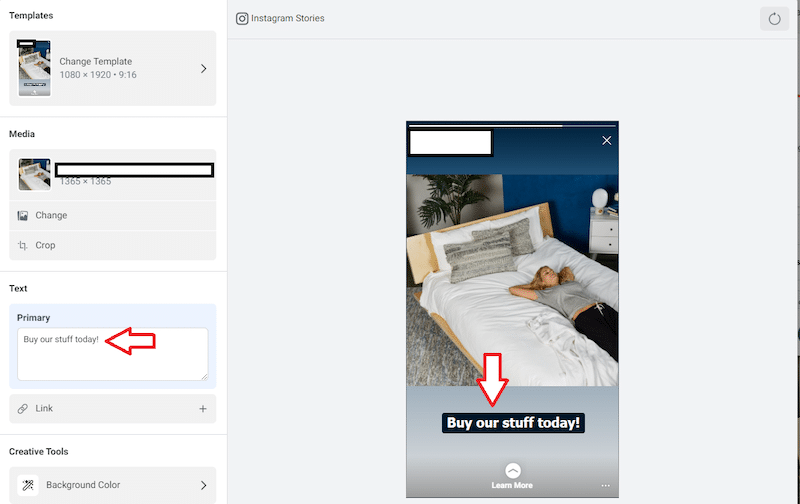 Screen cap of text insertion for a Story Ad template on Facebook