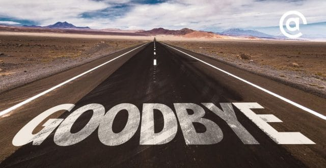 "Road in desert with ""Goodbye"" on it introduces the post, Wave Bye Bye to These Digital Marketing Trends: Pubcon Speakers Speak Out"