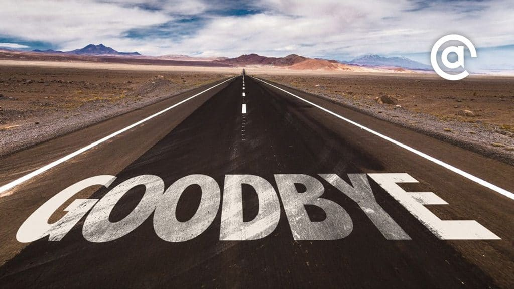 """Road in desert with """"Goodbye"""" on it introduces the post, Wave Bye Bye to These Digital Marketing Trends: Pubcon Speakers Speak Out"""