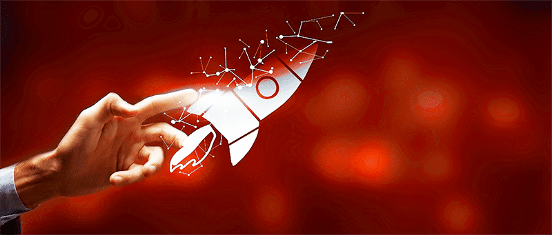 """A hand releases the an imagined rocket to convey the idea of, """"envisioning what's possible."""""""