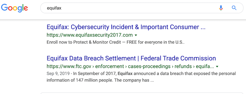 Screen cap of Equifax in Google search results