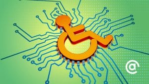 Graphic of wheelchair icon over a circuit board