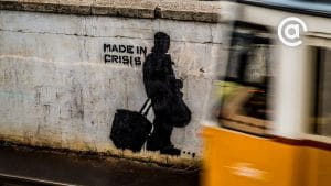 "Graffiti that says ""Made in Crisis"""