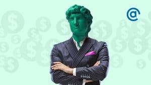 Office man headed by bright statue on green background