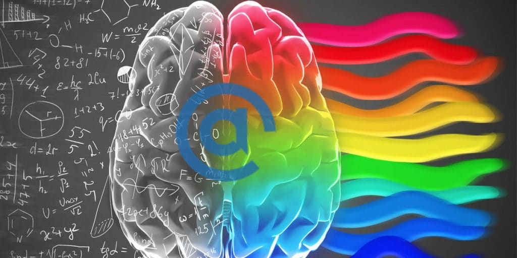 Math equations enter the left side of a black and white brain and leave in a vibrate flow of colors.